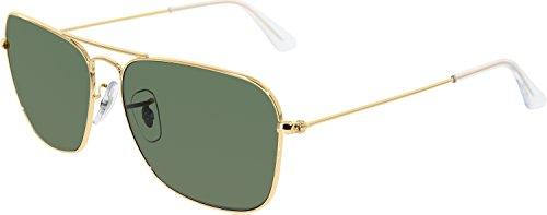 Ray-Ban Mens Caravan Sunglasses (RB3136 58) Gold Shiny/Green Metal - Non-Polarized - 58mm by Ray-Ban