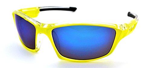 VertX Lightweight Durable Mens & Womens Athletic Sport Sunglasses Cycling Running w/FREE Microfiber Pouch - Neon Yellow Frame - Blue - Triathlon Sunglasses