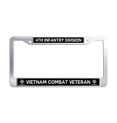 Division Vietnam Veteran License Plate - JiuznseateFrame 4th Infantry Division Vietnam Combat Veteran License Plate Frame, US Army Military Waterproof Metal Stainless Steel License Frame Holder with Screw Caps