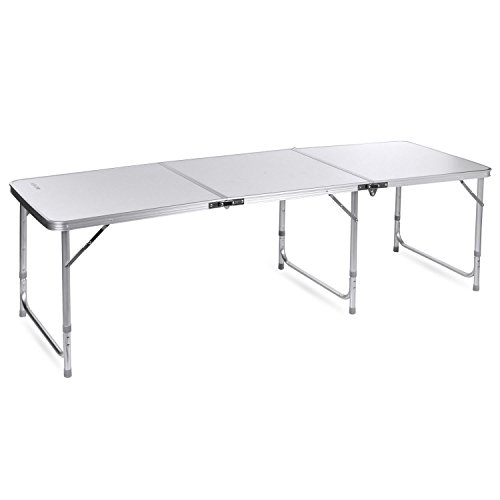 Buy Bargain 6FT Aluminum 3-In-1 Portable Folding Utility Table with Carrying Handle for Picnic Campi...