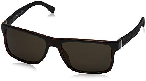 BOSS by Hugo Boss Men's B0919s Rectangular Sunglasses, HAVANA BLACK, 57 mm