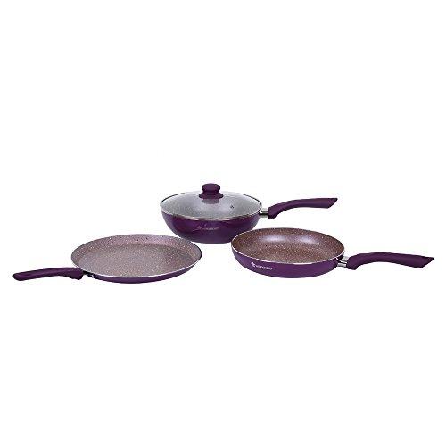 Wonderchef Royal Velvet Plus Induction Base Aluminium Nonstick Cookware Set, 4 Pieces, Purple