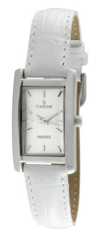 Peugeot Women's Quartz Metal and Leather Dress Watch, Color:White (Model: 3008WT) - Ladies Petite Quartz Watch