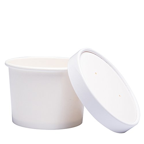 Benail Paper Ice Cream Cups with Paper Lids, Paper Hot/Cold Soup Cups with Lids (White) (40, 12 oz)