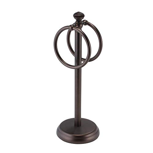 """mDesign Decorative Metal Fingertip Towel Holder Stand for Bathroom Vanity Countertops to Display and Store Small Guest Towels or Washcloths - 2 Hanging Rings, 14.25"""" High - Bronze"""