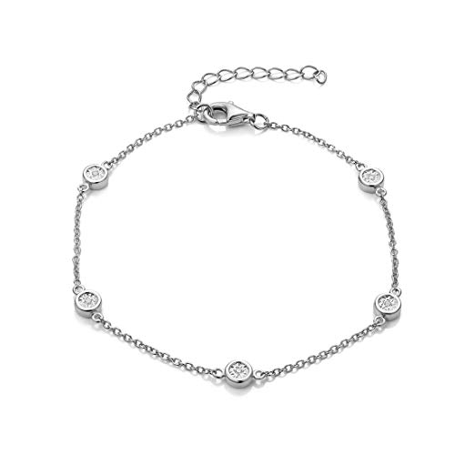 FANCIME White Gold Plated 925 Sterling Silver Round CZ Cubic Zirconia Petite Station Simple Dainty Chain Bracelet for Women Girls, 17+3cm