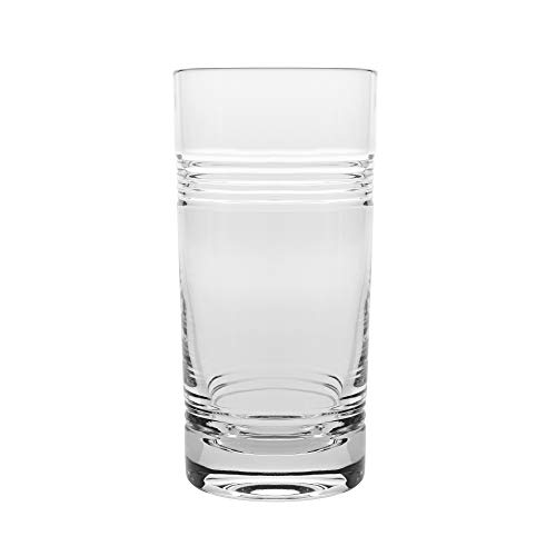 Barski - Set of 6 - Mouth Blown - Hand Cut - Crystal Tumbler Glasses - Highball- Hiball Tumblers - Each Glass is 16 oz. - Uniquely Designed - Made in Europe ()