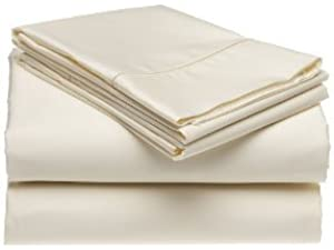 Sheetsnthings Bed Sheet Set, 300 Thread Count   Olympic Queen Solid Ivory    100%