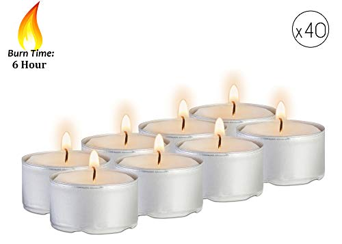 dles - 40 Pack Bulk Package - White Unscented Travel, Centerpiece, Decorative Candle With Maxi Burn Time - Pressed Wax - By Ner Mitzvah (Candle Lite Unscented Candle)
