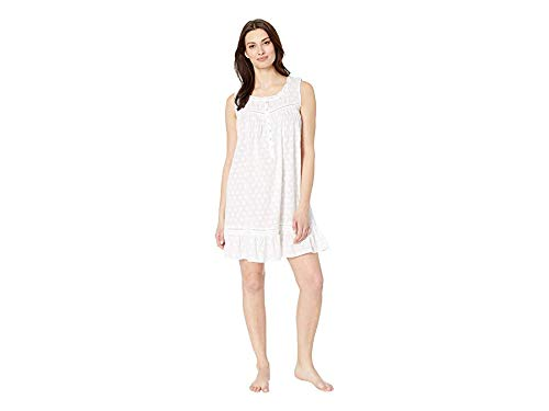 Eileen West Women's Cotton Woven Heart Jacquard Short Chemise Solid White Small