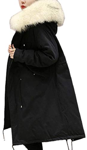 Faux Winter Jacket Oversized Fur Puffer Hood Coat 2 Thick security Women Down wUqTIIx