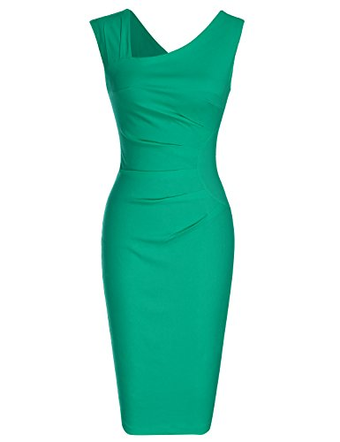 MUXXN Women's Vintage 1950s V Neck Strap Knee Length Dress (Grass Green...