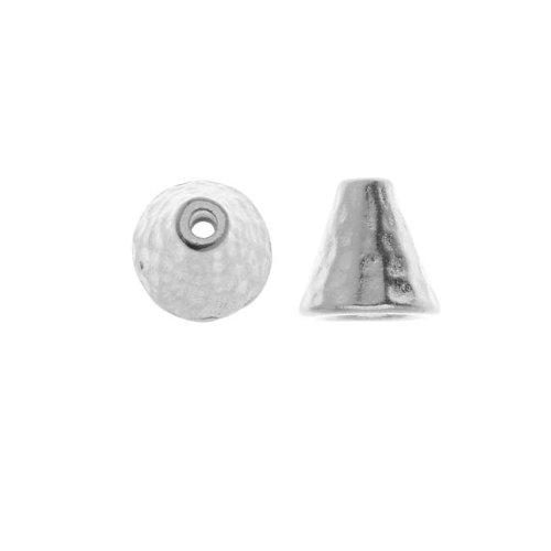 TierraCast Real Rhodium Plated Pewter Hammered Cone Bead Caps 8mm (2)
