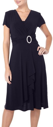 R & M Richards Women's Cascading Ruffle Detail Dress Black 16 by R&M Richards