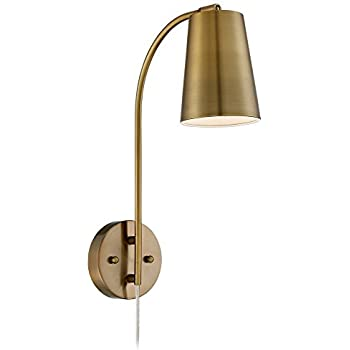 Sully warm brass plug in wall lamp amazon sully warm brass plug in wall lamp aloadofball Choice Image