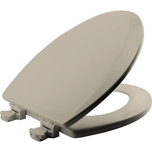 - Bemis 1500EC 146 Wood Elongated Toilet Seat With Easy Clean & Change Hinge, Almond