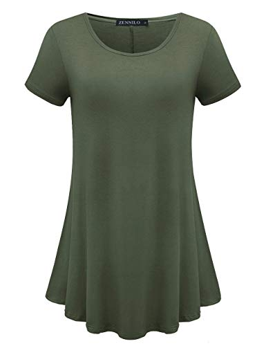 (ZENNILO Womens Short Sleeve Loose Fit Swing Tunic Tops Basic T Shirt (Army Green, L))