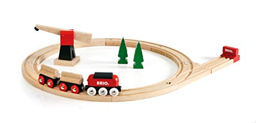 (BRIO World - 33010 Classic Freight Set | 18 Piece Train Toy with Accessories and Wooden Tracks for Kids Ages 2 and Up)