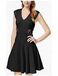 Juniors' Illusion Applique Fit-and-Flare Dress, L, Black