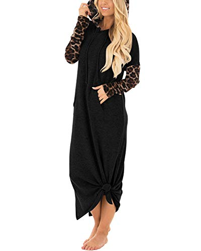 GIKING Hoodie Leopard Printed Halloween Sweatshirt Hooded Sweater Dresses for Women Leopard S