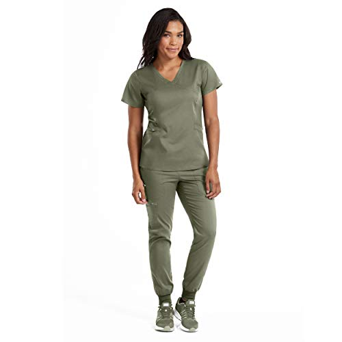 Med Couture New Touch Women's Mock Wrap Scrub Top & Jogger Yoga Pant Set ()