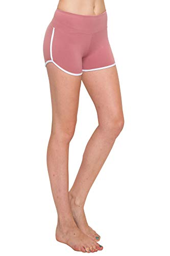 ALWAYS Women Riverdale Merchandise Shorts - Premium Buttery Soft Stretch Dolphin Yoga Workout Cheerleader Dance Volleyball Short Pants with Stripes Mauve2 White M