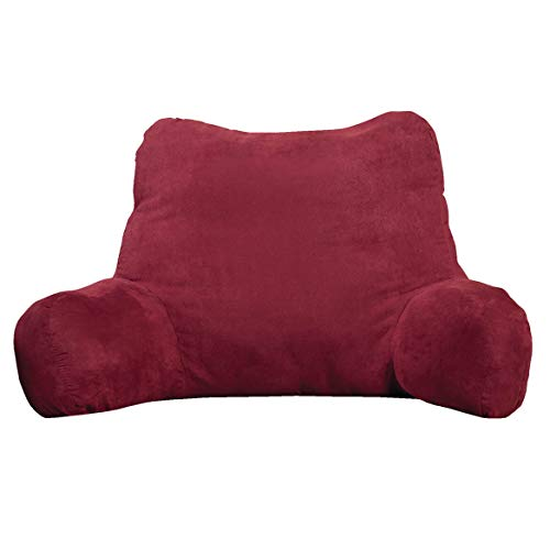 Backrest Pillow - Large Firmly Stuffed Sitting Support Bed Pillow with Arms for Comfort while Reading & Relaxing -Foam filled for Adults, Teens and Kids - Burgundy Red