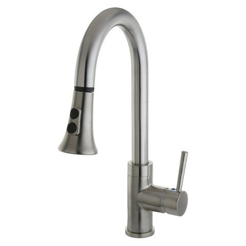Gourmetier Satin Nickel Single Handle Faucet with Pull Down Spout