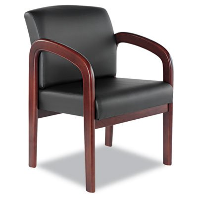 (Alera ALERL4319M Reception Lounge Series Guest Chair, Mahogany/Black Leather)