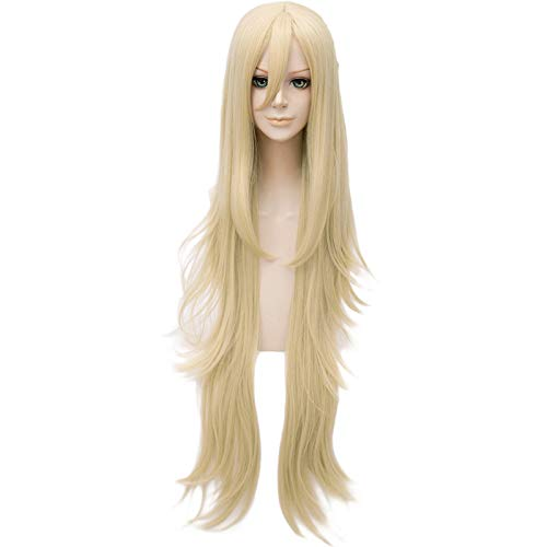 (COOLSKY Angels of Death Rachel Gardner Anime Cosplay Wig Long Blonde Curly Layered Synthetic Hair)