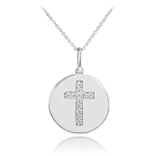 14k White Gold Cross Diamond Disc Pendant Necklace (22 Inches)
