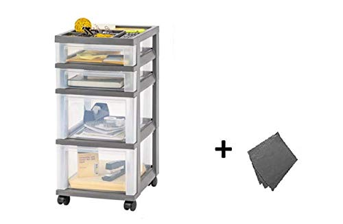 IRIS Rolling Storage Cart with Organizer Top, (4-Drawer, Gray + Free Cleaning Cloth)