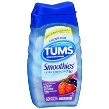 - Tums Smoothies Extra Strength 750 Antacid/Calcium Supplement Chewable Tablets Berry Fusion 60.0 ea. (Quantity of 6) by Unknown