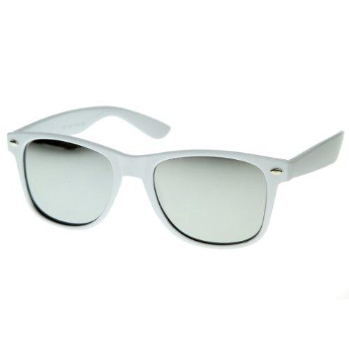 zeroUV - Hipster Fashion Flash Color Mirror Lens Horn Rimmed Style Sunglasses White (White - Frame White For Sunglasses Men