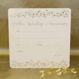 Golden wedding anniversary invitations pack of 10 amazon golden wedding anniversary invitations pack of 10 stopboris Gallery
