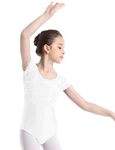 inlzdz Kids Girls Floral Lace Tank Top Bowknot Cutout Back Gymnastics Leotard Dance Sports Activewear White 10-12