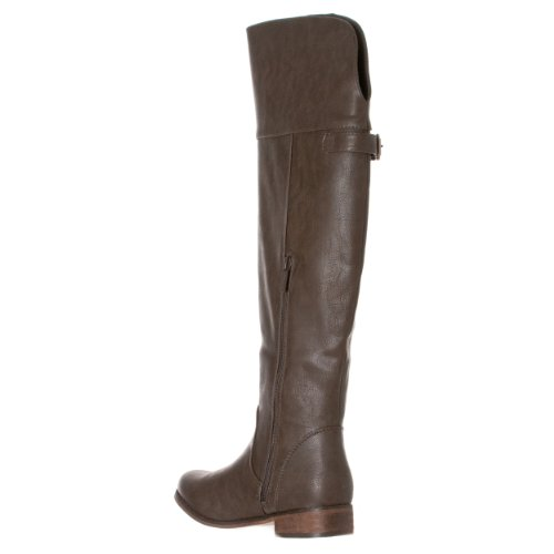 Women's Grey 'Rider Buckle Round 24' Breckelle's Toe Riding Boots 16nqH4x
