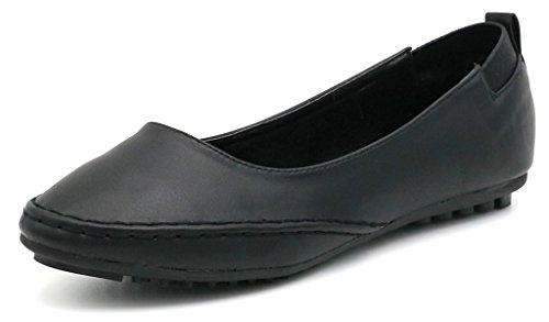 Elegante AgeeMi Primavera PU Donna Estate Ballerine Pelle Nero Nero Shoes Scarpe xRwxnrP
