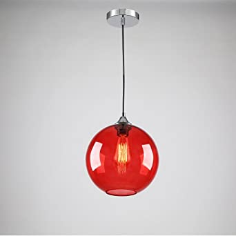 lightinthebox vintage glass pendant light in round red. Black Bedroom Furniture Sets. Home Design Ideas
