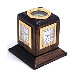 Bey-Berk International Three Time Zone Revolving Desk Clock, Walnut Wood - Tarnish Proof