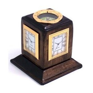 (Bey-Berk SQ597T Lacquered Walnut Wood Three Time Zone Revolving Desk Clock with Compass Top and Engraving Plates. Black)