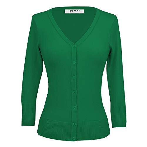 YEMAK Women's V-Neck Button Down Knit Cardigan Sweater Vintage Inspired,Kelly Green,Small ()