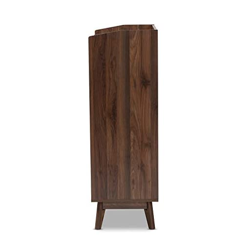 Bedroom Baxton Studio Lena Mid-Century Modern Walnut Brown Finished 5-Drawer Wood Chest