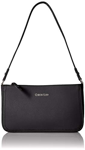 affiano Leather Triple Entry Demi Shoulder Bag,  Black/Silver, One Size ()