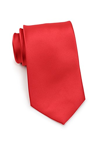 Bows-N-Ties Men's Necktie Solid Color Microfiber Satin Tie 3.25 Inches (Bright Red)