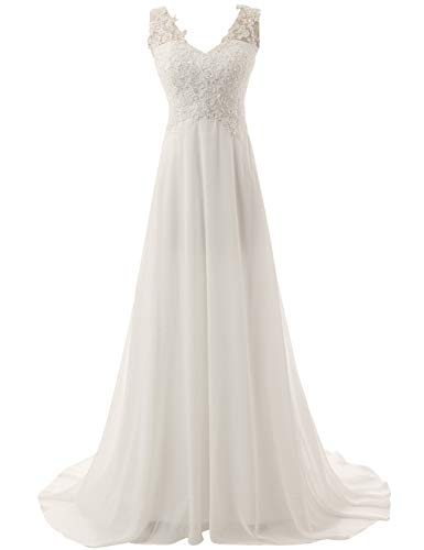 JAEDEN Wedding Dress Beach Bridal Dresses Lace Wedding Gown A Line Bride Dress Ivory ()