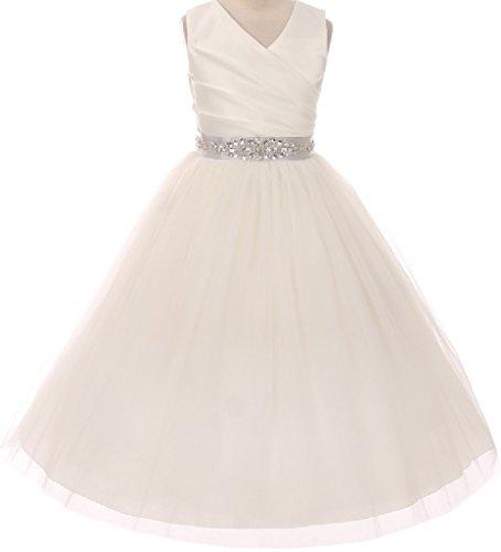Big Girls' Custom Rhinestone Belt Communion Flowers Girls Dresses Ivory Silver 12 (MB27K6CB)