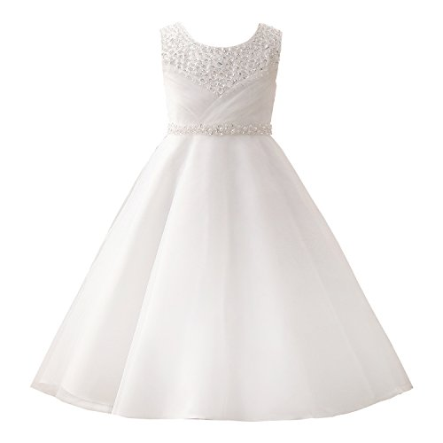 Castle Fairy Girls' First Communion Organza Sequin Pearls Flower Girl Dress with Train Size 10, White]()