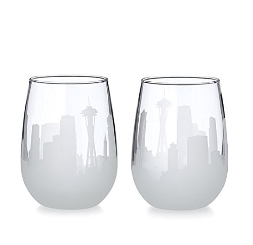 Etched Skyline Wine Glasses - Set of 2 (Glass Skyline Wine)