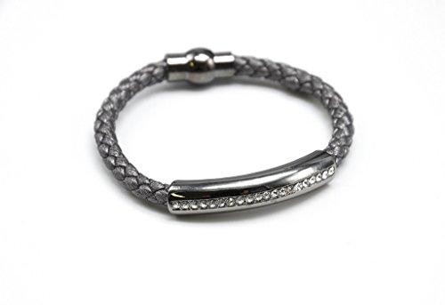 BC684 - Bracelet Aimanté Cordon Tressé Gris et Tube Métal Bande Strass - Mode Fantaisie